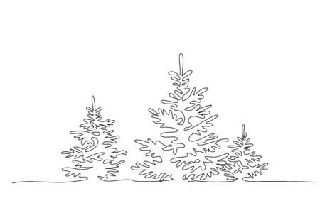 Pine fir trees in a forest. Continuous one line drawing. Vector illustration minimalistic design 版權商用圖片 - 150145927