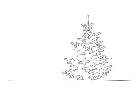 Pine fir trees in a forest. Continuous one line drawing. Vector illustration minimalistic design