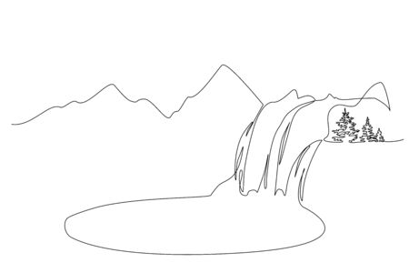Continuous one line drawing. Landscape with mountains, waterfall and lake. Vector illustration