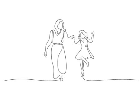 Continuous one line drawing. Mother and daughter walking together. Vector illustration 版權商用圖片 - 150145925