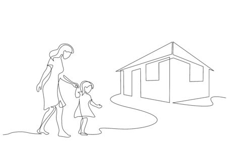 Continuous one line drawing. Mother and daughter walking together to their house. Vector illustration Vettoriali
