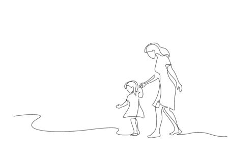 Continuous one line drawing. Mother and daughter walking together. Vector illustration