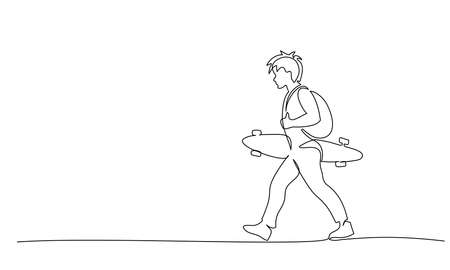 Continuous one line drawing. Young boy walking boy with a long board. Vector illustration Vettoriali