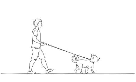 Continuous one line drawing. Young holding dog leash in walking. Vector illustration