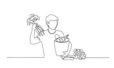 Man takes out carrot from shopping paper bag with organic fresh food. Continuous one Line drawing vector illustration.