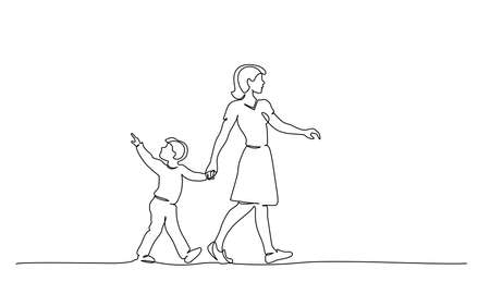Continuous one line drawing. Happy mother and chlid boy walking together. Single line art of small family. Vector illustration