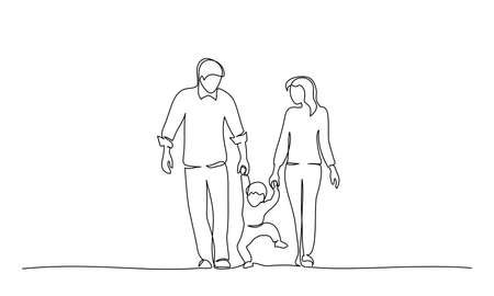 Continuous one line drawing. Family holding hand with small child design silhouette. Hand drawn minimalism style vector illustration
