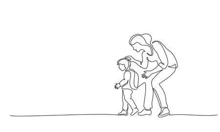 Continuous one line drawing. Happy Mother escorts her small son to first grade at school. Single line art of small family. Vector illustration