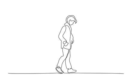 Sad Teenager walking. Continuous one line drawing. Vector illustration