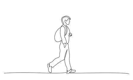 Continuous one line drawing. Young man walking on street with backpack. Student college with bag. Vector illustration 版權商用圖片 - 150579745
