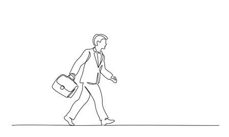 Continuous one line drawing. Young man walking on street with briefcase. Student college with brief-bag. Vector illustration