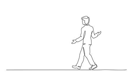 Continuous one line drawing. Young man walking surprised. Vector illustration