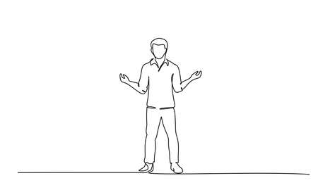 Continuous one line drawing. Young man standing surprised. Vector illustration
