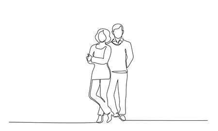Continuous one line drawing. Couple man and woman. Vector illustration