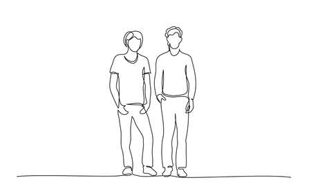 Continuous one line drawing. Group of teenager speaking. Vector illustration 版權商用圖片 - 151086541