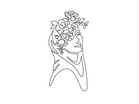 Young happy woman in hijab with flowers on her face. Continuous one line drawing. Vector illustration