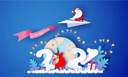 2021 New Year card design. Santa Claus flying on paper airplane over globe Earth on blue background. Vector paper cut art illustration for promotion banners, headers, posters, stickers Stock Illustratie