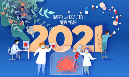 2021 New Year design card Doctor medical team professionals doing vaccine research against coronavirus COVID-19. Vector illustration. Paper cut and craft style. Healthy New Year