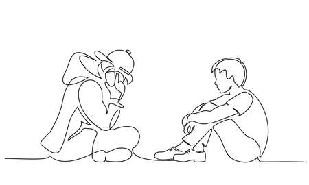 Two young boys teenagers sitting together and one talking by phone. Continuous one line drawing. Vector illustration