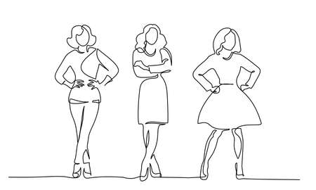 Three slender girls standing. Continuous one line drawing. Vector illustration Vetores