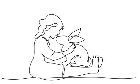 Happy Easter. Girl sitting with rabbit. Vector paper design illustration. Continuous one line drawing style. 向量圖像