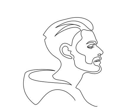 Modern portrait of man with beard in profile. Continuous one line drawing. Vector illustration.