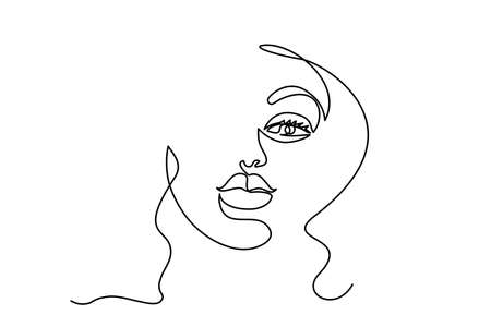 Abstract modern portrait of woman. Face one line drawing. Portret minimalistic style. Vector illustration 向量圖像