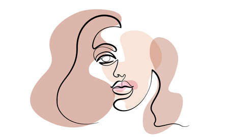 Abstract modern portrait of woman. Face one line drawing with color spots. Portret minimalistic style. Vector illustration 向量圖像