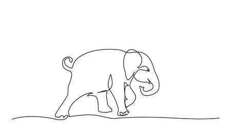 Running baby elephant. Continuous one line drawing. Vector illustration 向量圖像