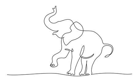 Elephant walking and playing silhouette. Continuous one line drawing. Hand drawn minimalism style Vector illustration 向量圖像