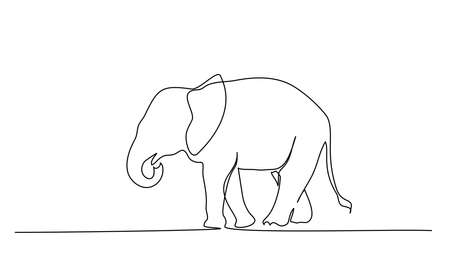 Elephant walking silhouette. Continuous one line drawing. Hand drawn minimalism style Vector illustration