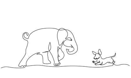 Running baby elephant playing with small dog Dachshund. Continuous one line drawing. Vector illustration 向量圖像