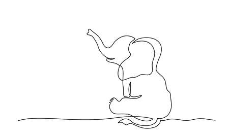 Sitting baby elephant. Continuous one line drawing. Vector illustration 向量圖像
