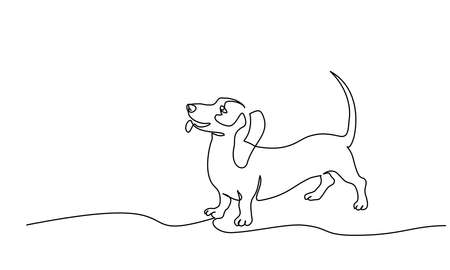 Happy Dachshund dog with tail up design silhouette. Continuous one line drawing. Hand drawn minimalism style vector illustration