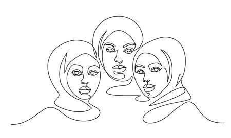 Portrait of three pretty muslim women minimalistic style. Continuous one line drawing. Vector illustration 向量圖像