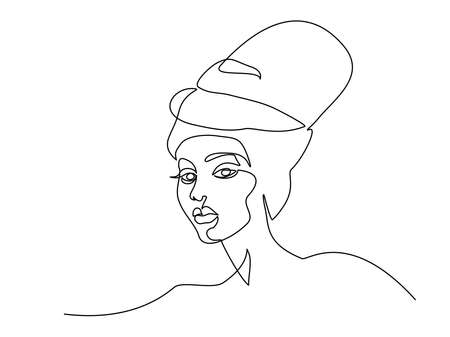 Abstract portrait of pretty young woman minimalistic style. Continuous one line drawing. Vector illustration