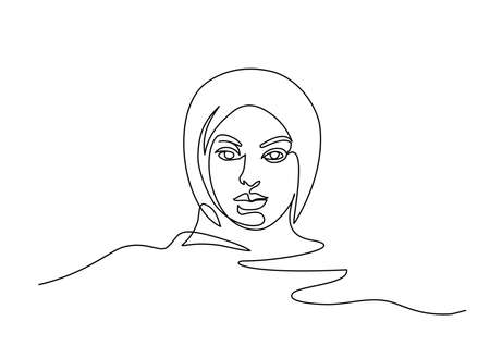 Portrait of pretty muslim woman minimalistic style. Continuous one line drawing. Vector illustration