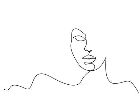 Abstract face of woman. Continuous one line drawing. Portrait minimalistic style. Vector illustration