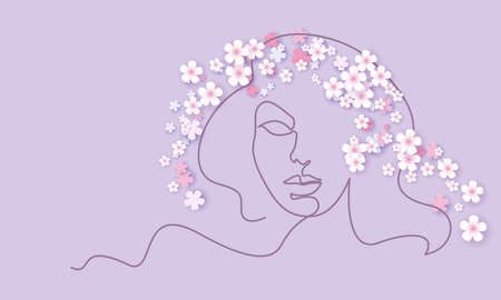 Abstract face of woman with color flowers. Continuous one line drawing. Portrait minimalistic style. Vector illustration