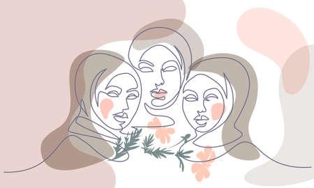 Portrait of three pretty muslim women. One line drawing