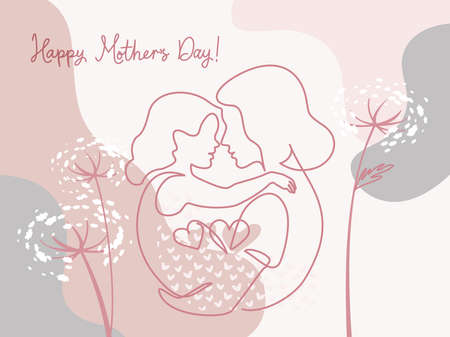 Happy Mother day card. Continuous one line drawing.