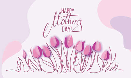 Happy Mothers Day card with one line spring tulip flowers
