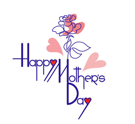 Happy mothers day card with rose flower. Lettering handmade