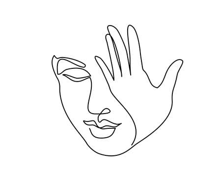 Abstract beautiful woman face with hand closing eye