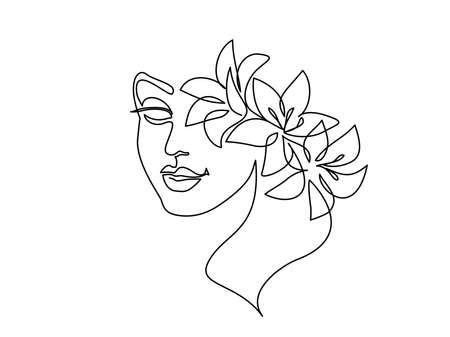 Abstract beautiful woman face on white background.