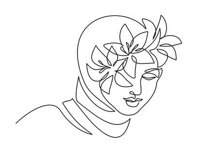 Young happy woman in hijab with flowers on her face