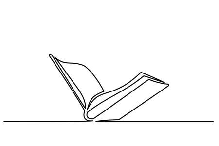 Opened book icon logo. Continuous one line drawing 向量圖像