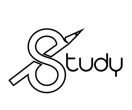 Study Logo with styled S and pencil. 向量圖像