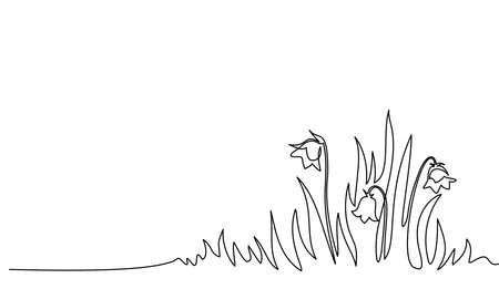 Abstract meadow line with grass and flowers bellflower.