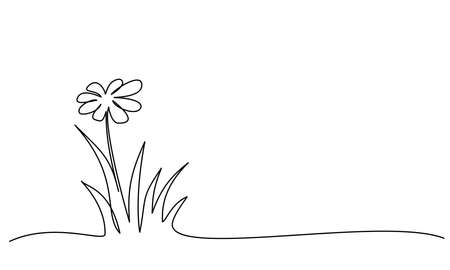 Abstract meadow line with grass and flowers chamomile.